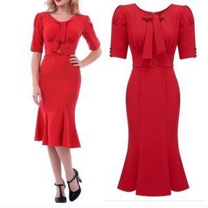 Stop Staring Alicia Estrada Rouge Midi Dress Red L